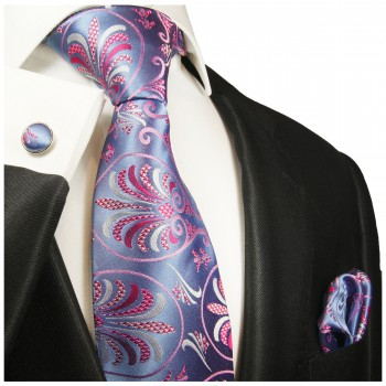 Blue pink tie floral necktie - silk mens tie and pocket square and cufflinks