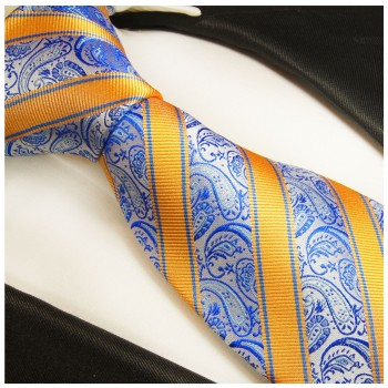 Blue yellow striped necktie - silk mens tie and pocket square and cufflinks