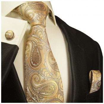 Yellow brown tie paisley necktie - silk mens tie and pocket square and cufflinks