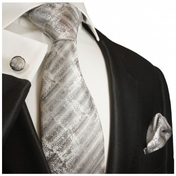 gray striped necktie - silk mens tie and pocket square and cufflinks