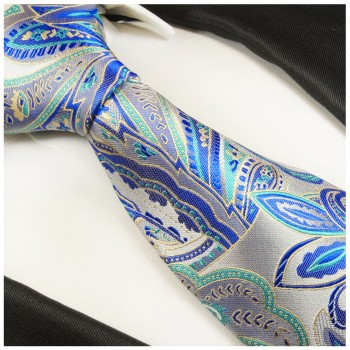 Blue silver tie paisley necktie - silk mens tie and pocket square and cufflinks