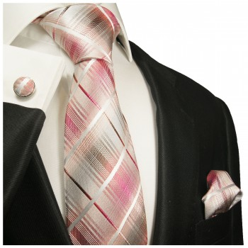 Pink gray striped necktie - silk mens tie and pocket square and cufflinks