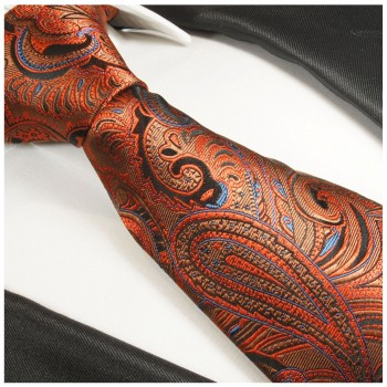 Orange tie paisley necktie - silk mens tie and pocket square and cufflinks
