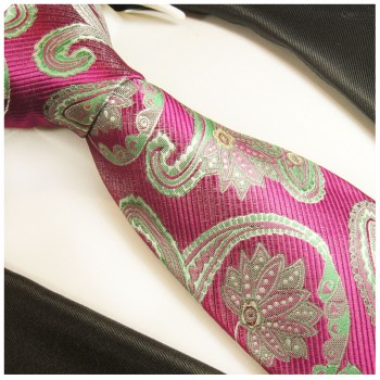 Pink green tie paisley necktie - silk mens tie and pocket square and cufflinks