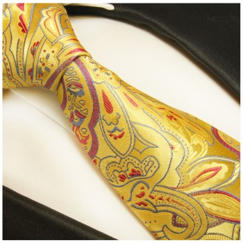 Yellow  tie paisley necktie - silk mens tie and pocket square and cufflinks