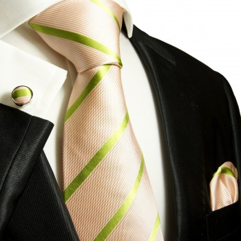 salmon green mens tie striped necktie - silk tie and pocket square and cufflinks