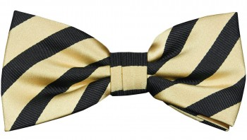 Men´s Bow Tie Pretied gold black striped by Paul Malone