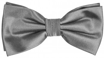 Men´s Bow Tie Pretied solid silver gray by Paul Malone