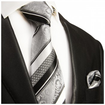 Silk Necktie Set 2pcs. mens tie and pocket square silver black striped 382