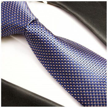 Blue checkered XL necktie (165cm) 100% silk 393