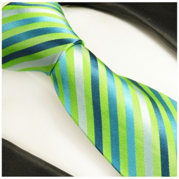 Green tie 100% silk mens tie striped necktie 530