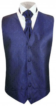 tuxedo vest blue wedding waistcoat and ascot tie v8