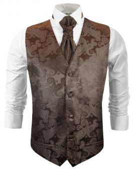 Brown paisley wedding vest waistcoat with cravat