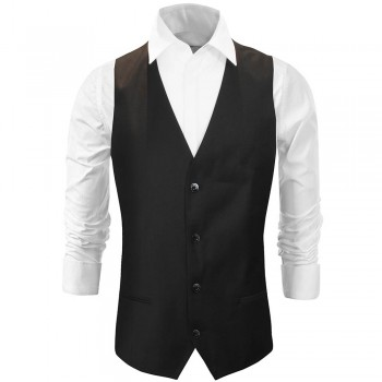 Mens vest black solid - Slim Fit