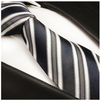 Blue mens tie 100% silk necktie striped 437