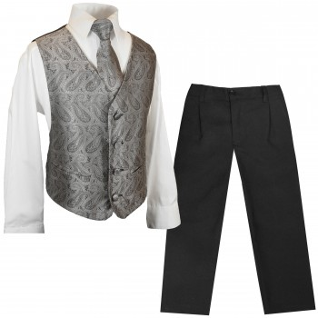 Boys Vests Set 4 pcs festive grey paisley with shirt and pants
