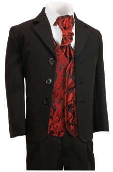 Boys suit black + red vest set KA20+KV99-Plastron