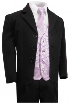 Boys tuxedo suit black + purple vest set KA20+KV93