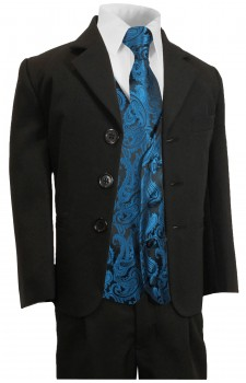 Boys suit black + petrol blue vest set KA20+KV100