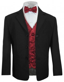 Boys tuxedo suit black + maroon red vest set KA20+KV95 with bow tie