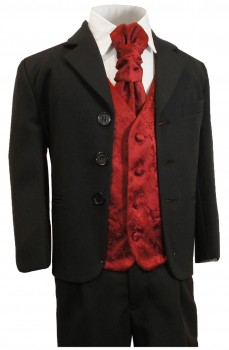 Festive boys suit black + maroon red vest set KA20+KV95-Plastron