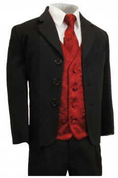 Boys tuxedo suit black + maroon red vest set KA20+KV95