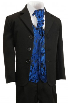 Boys suit black + blue vest set KA20+KV98-Plastron