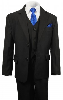 Boys waisted suit set 6pcs. solid black 2 button jacket