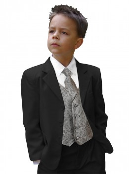 Boys tuxedo suit black + gray waistcoat set with mens tie