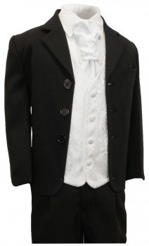 Boys tuxedo suit black + white vest set KA20+KV43-Plastron