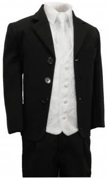 Boys tuxedo suit black + white vest set KA20+KV43