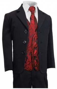 Boys suit navy blue + red paisley waistcoat set with necktie