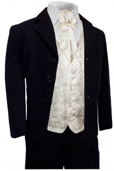 Boys tuxedo suit navy blue + ivory vest set with ascot tie