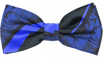 Men´s Bow Tie Pretied blue black baroque striped