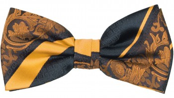Men´s Bow Tie Pretied yellow black baroque striped