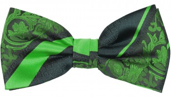 Men´s Bow Tie Pretied green black baroque striped