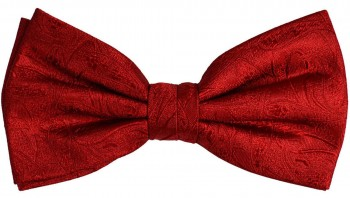 Men´s Bow Tie Pretied red solid paisley