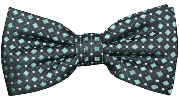 Men´s Bow Tie Pretied black green polka dots