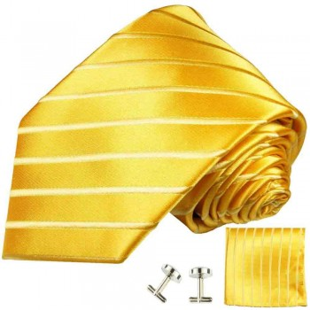Yellow gold mens tie striped necktie - silk tie and pocket square and cufflinks