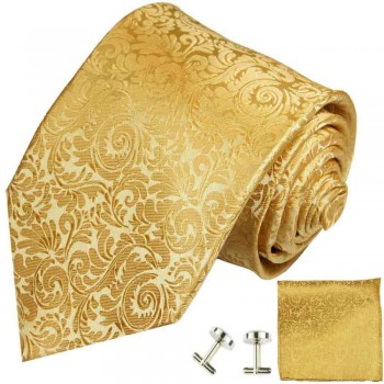 Gold tie baroque necktie - silk mens tie and pocket square and cufflinks