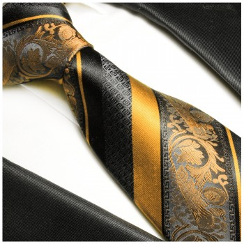 Necktie gold black 100% Silk mens tie baroque striped 495