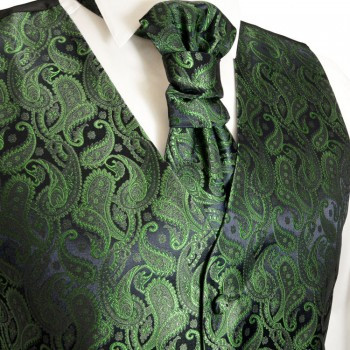 Emerald green waistcoat paisley for wedding with necktie ascot tie pocket square and cufflinks v14