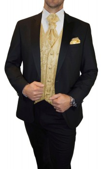Wedding tuxedo / suit set 6pcs black SLIM FIT incl. Wedding vest creme gold floral