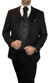 Groom wedding suit tuxedo black with black striped waistcoat wedding vest