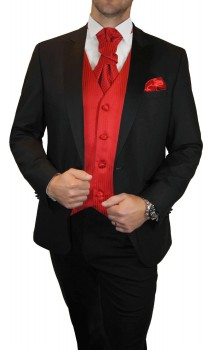 Groom wedding suit tuxedo black with red striped waistcoat wedding vest