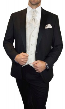Groom wedding suit tuxedo black with ivory paisley waistcoat wedding vest