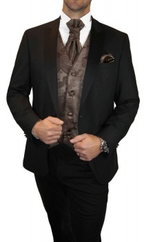 Groom wedding suit tuxedo black with brown paisleywaistcoat wedding vest