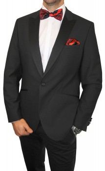 Wedding mens suit black | dress tuxedo | red bow tie