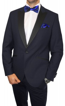 Wedding mens suit blue | dress tuxedo | bow tie