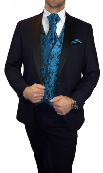 Blue wedding suit for men | tuxedo set 6pcs (Slim Fit) + Wedding vest petrol black paisley